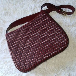 Relic Cranberry Red Woven Leather Shoulder Bag